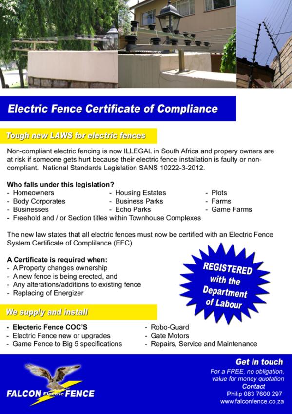 electric fence certificate of compliance coc pretoria gauteng falconfencecoza