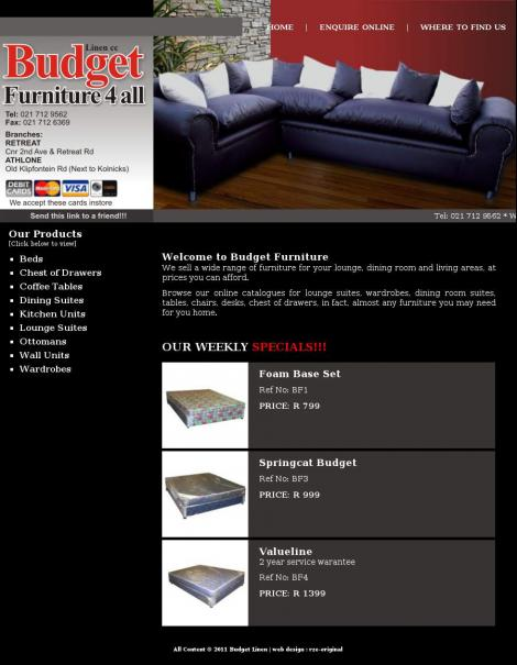 Budget Furniture 4 All Athlone Wes Kaap